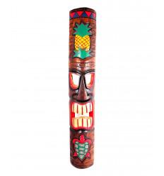 Grand masque Tiki 100cm motif ananas et tortue. Décoration maori polynésie