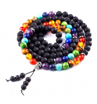Bracelet 7 chakra and lava stone - Symbol Tree of life golden. Free delivery !!!