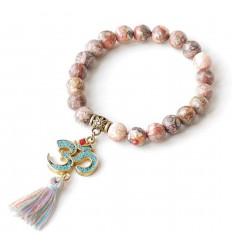 Bracelet en jaspe léopard Symbole ôm & pompon Boho chic