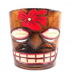 """Cache-pot """"Tiki"""" en bois motif fleur"""