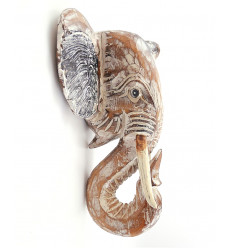 Testa di elefante in legno parete, l'acquisto di un trofeo di caccia sul muro.
