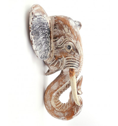 Tête d'éléphant murale en bois, achat trophée de chasse mural.