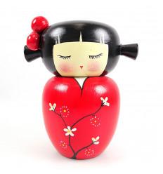 Tirelire pour fille, poupée Kokeshi en bois artisanal rouge, achat.