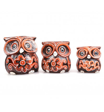 3 figurines Owls / Owls in the wood, decoration child bedroom.