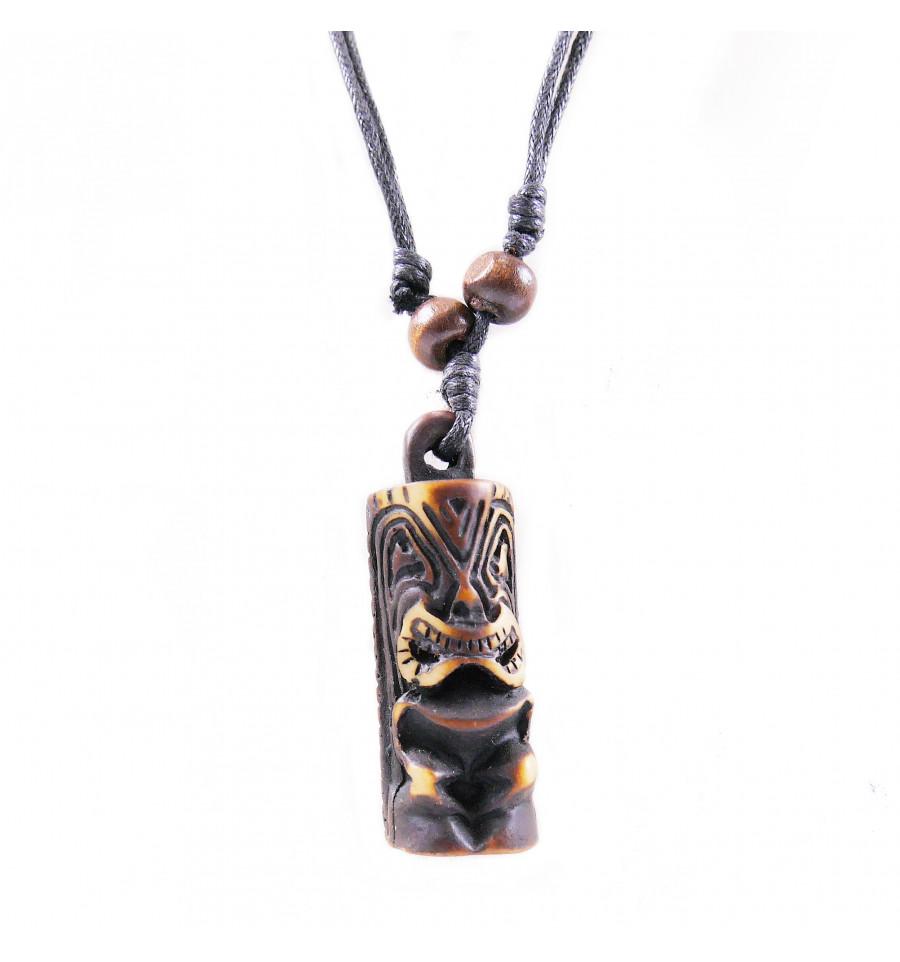 f85fa2006a Collana mista uomo / donna con ciondolo Tiki - gioielli maori Hawaii Tahiti