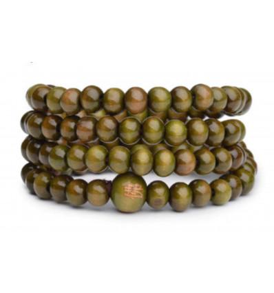 Bracelet Tibetan Mala beads wood green.