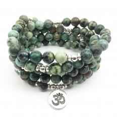 Bracelet mala 108 perles en Turquoise africaine + symbole Ôm