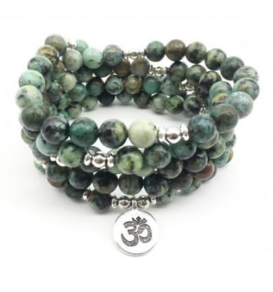 Bracelet mala 108 beads Turquoise african + symbol Ôm