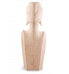 Buste Présentoir à colliers et boucles d'oreilles en bois massif brut