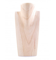 Bust display has necklaces raw wood H25cm