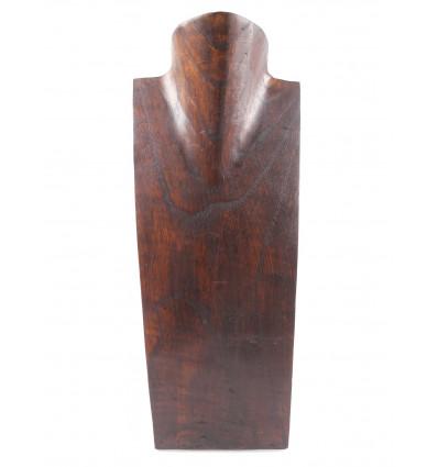 buste présentoir à collier en bois fait main artisanal, pas cher.