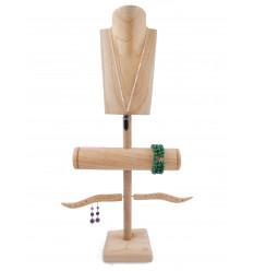 Présentoir à Bijoux pour colliers, boucles, bracelets et montres - bois massif brut
