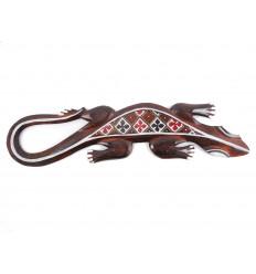 Gecko motif batik - décoration murale en bois 50cm