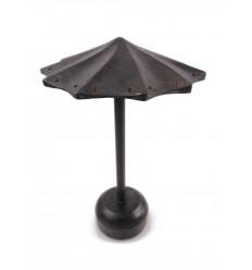 """Présentoir à boucles d'oreilles forme parasol en bois massif finition """"noir vintage"""""""