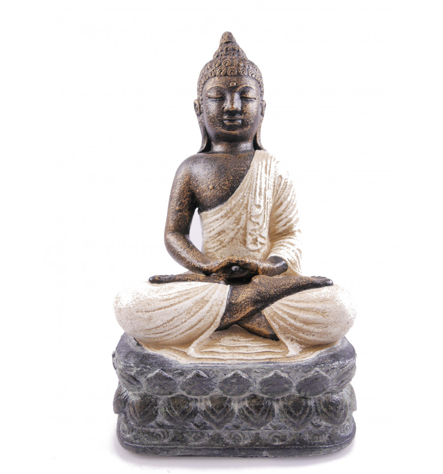 Bouddha Rieur Signification Position statue stone buddha, lotus position, white. decoration craft.