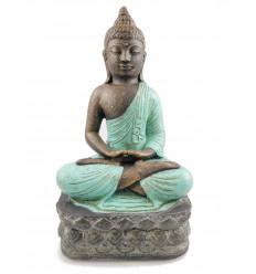 Statue Bouddha en pierre, position lotus, turquoise. Décoration artisanal.
