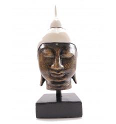 Tête de Bouddha en pierre. Coiffure blanche. Artisanat de Bali.