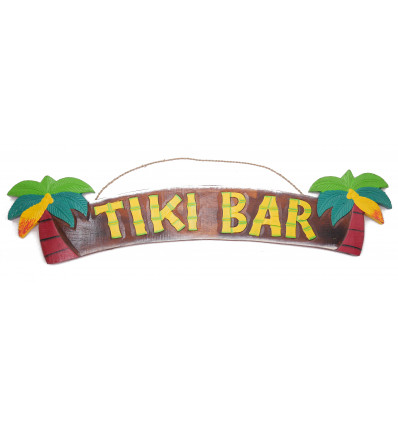 """Large plaque / sign wooden """"Tiki Bar"""" homemade."""