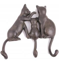 Patère murale chats en résine, porte manteau objet déco chat original.