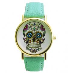 """Montre fantaisie """"Calavera"""" motif tête de mort multicolore - bracelet similicuir vert menthe."""
