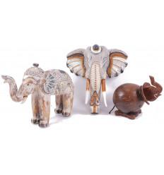 Déstockage ! Lot de 3 éléphants déclassés - Articles de décoration abîmés à saisir