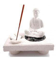 Giardino Zen, porta incenso e supporto di candela di Buddha. Resina artigianato bianco.