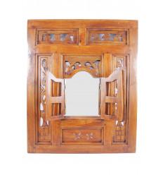Miroir fenêtre oriental en bois style Moucharabieh 50x60cm coloris acajou.