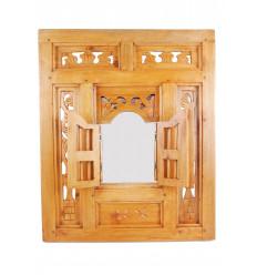 Specchio finestra in stile orientale, un Traliccio di legno 50x60cm bianco.