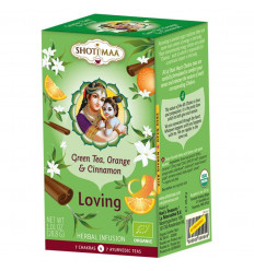 Infusion in ayurvedic bio Shoti Maa tea, green tea, orange, cinnamon.