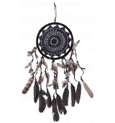 Grand Attrape-rêves noir 65x22cm décor broderie crochet dentelle