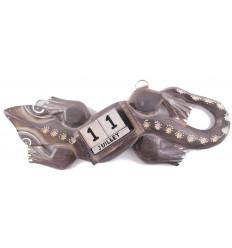 Calendrier perpétuel gecko / lézard / salamandre en bois sculpté