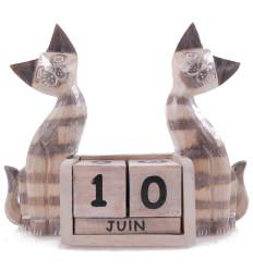 Grand calendrier perpétuel en bois décor 2 Chats beiges. Cadeau original.