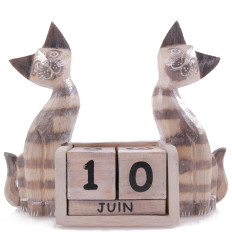 Large perpetual calendar wood decor 2 grey kitties. Original gift.