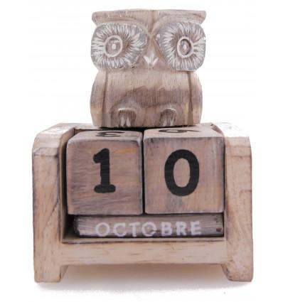 Petit calendrier perpétuel Chouette / Hibou en bois. Cadeau enfant.