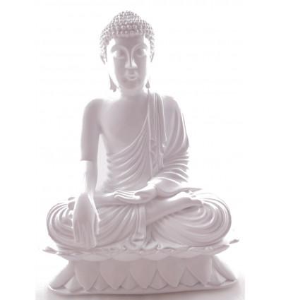 Statue of Buddha sitting in calling the earth white deco artisan zen asian