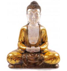 Buddha seated meditation, statue golden. Asian decor of zen.