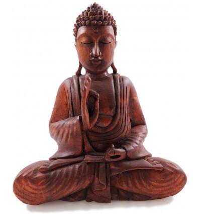 Statue de Bouddha en bois artisanale mûdra éducation argumentation
