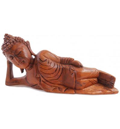 Statua di Buddha sdraiato L30cm legno Suar solido