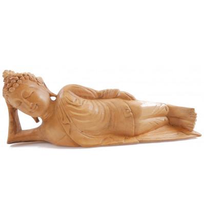 Statue de Bouddha allongé L30cm en bois exotique brut. Décoration Zen.