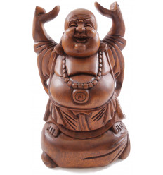 "Statue, chinese Buddha laughing H30cm. ""Happy Buddha"" in exotic wood carved hand."
