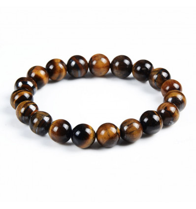 Bracelet Lithotherapie beads 10mm Tiger Eye-natural - Protection, self-confidence