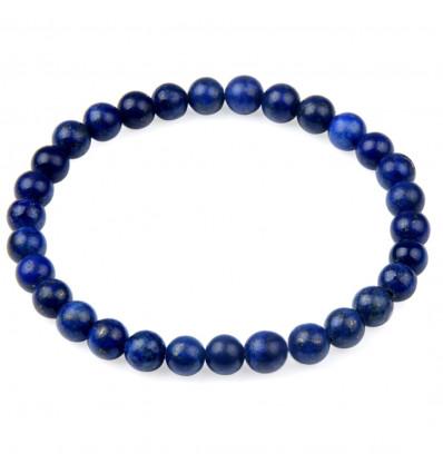 Bracciale Lithotherapie perline 6mm Lapislazzuli naturale Buon umore e di amicizia.