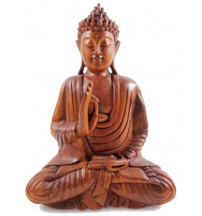Statue Bouddha assis en bois. Décoration Thaïlande.