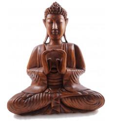 Scultura statua di Buddha Shakyamuni zen in legno. Statua Di Buddha In Bali.
