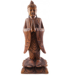 Large statue of the standing Buddha h60cm solid wood carved hand