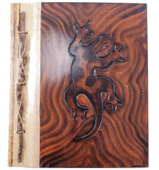 Photo Album Gecko, natural wood, 40 views. Manufactured artisanalement.