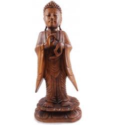 Statue de Bouddha debout h40cm bois massif sculpté main