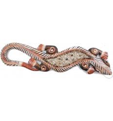Salamandre sable et coquillages, déco murale artisanale et exotique.