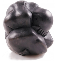 Statue Yogi liberator, the buddha weeping, solid wood black.
