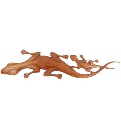 Geckos wall wooden, made artisanally. Decoration lizard.